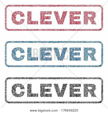 Clever text textile seal stamp watermarks. Blue, red, black fabric vectorized texture. Vector tag inside rounded rectangular shape. Rubber emblem with fiber textile structure.