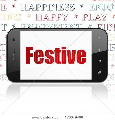 Holiday concept: Smartphone with  red text Festive on display,  Tag Cloud background, 3D rendering