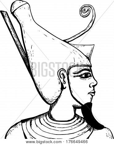 Outlined View Of Egyptian God Atum