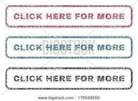 Click Here For More text textile seal stamp watermarks. Blue, red, black fabric vectorized texture. Vector caption inside rounded rectangular banner. Rubber emblem with fiber textile structure.