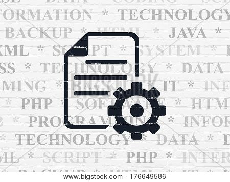 Software concept: Painted black Gear icon on White Brick wall background with  Tag Cloud