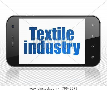 Industry concept: Smartphone with blue text Textile Industry on display, 3D rendering