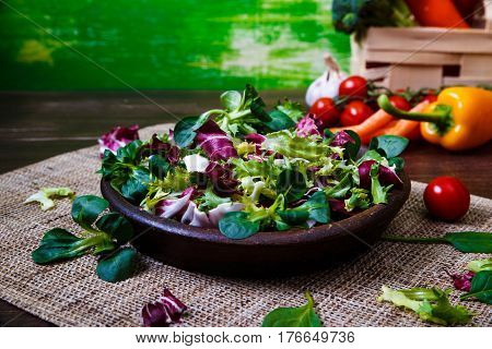 Provence salad. Leaves of endive or chicory, lamb and rose salad. Raw vegetables. On wooden table.