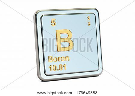 Boron B chemical element sign. 3D rendering isolated on white background