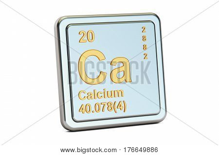 Calcium Ca chemical element sign. 3D rendering isolated on white background