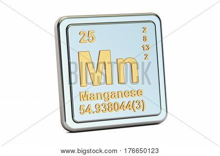 Manganese Mn chemical element sign. 3D rendering isolated on white background