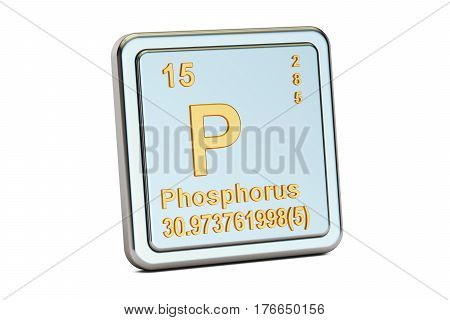 Phosphorus P chemical element sign. 3D rendering isolated on white background