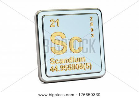 Scandium Sc chemical element sign. 3D rendering isolated on white background