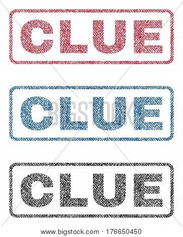Clue text textile seal stamp watermarks. Blue, red, black fabric vectorized texture. Vector caption inside rounded rectangular shape. Rubber emblem with fiber textile structure.