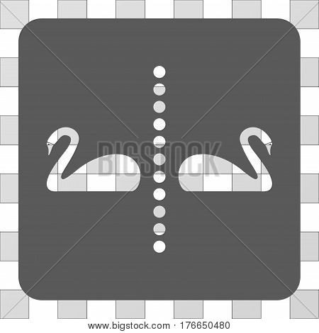 Separate Swans interface icon. Vector pictogram style is a flat symbol hole centered in a rounded square shape, grey color.