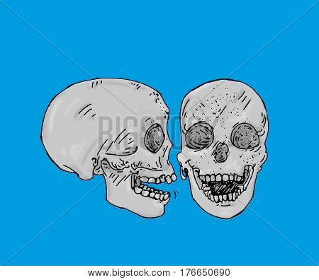 Two gray skulls one profile and another in front of human bones