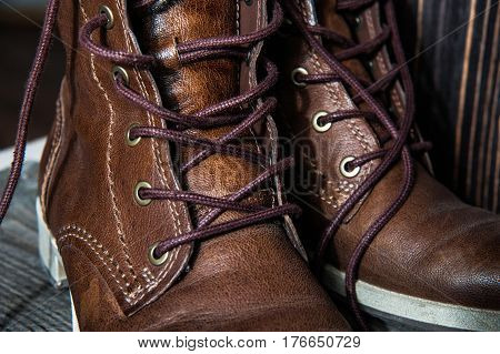 Background Of Pair Or Couple Close Up View Of Brown Leather Man Or Woman New Dry Clean Shoes, Showin