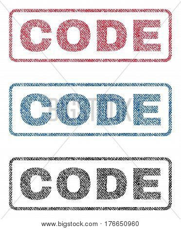 Code text textile seal stamp watermarks. Blue, red, black fabric vectorized texture. Vector caption inside rounded rectangular shape. Rubber emblem with fiber textile structure.