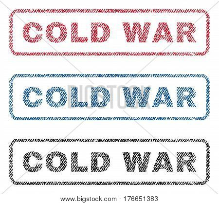 Cold War text textile seal stamp watermarks. Blue, red, black fabric vectorized texture. Vector caption inside rounded rectangular banner. Rubber emblem with fiber textile structure.