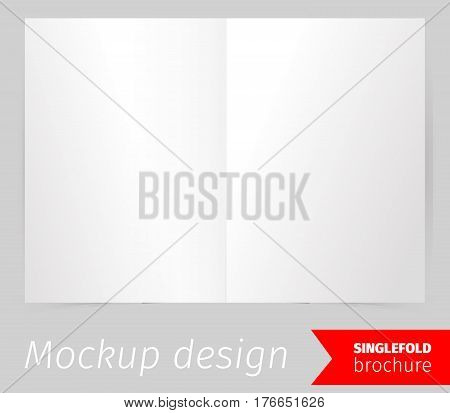 Single fold brochure mockup design, blank white paper, realistic rendering, isolated on grey background, copyspace for text, sheet template for menu, booklet or presentation data, vector illustration