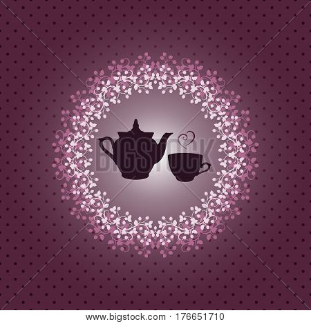 Vector illustration of invitation card with teapot and cup