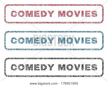 Comedy Movies text textile seal stamp watermarks. Blue, red, black fabric vectorized texture. Vector caption inside rounded rectangular banner. Rubber emblem with fiber textile structure.
