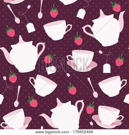 Seamless pattern with cups and teapots and raspberry. Vector illustration