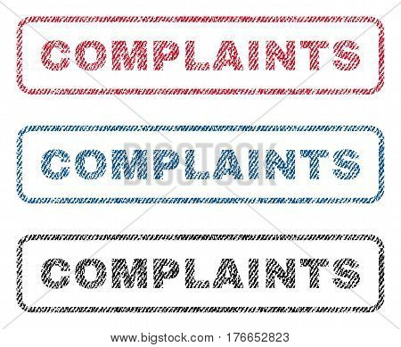 Complaints text textile seal stamp watermarks. Blue, red, black fabric vectorized texture. Vector tag inside rounded rectangular banner. Rubber sticker with fiber textile structure.