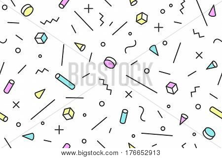 Seamless mephis graphic pattern 80s-90s trendy styles on blue background. Colorful pattern with different shapes objects. Design for wrapping paper, fabric background, wallpaper. Vector illustration