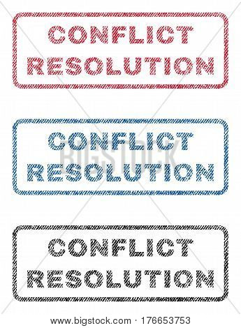 Conflict Resolution text textile seal stamp watermarks. Blue, red, black fabric vectorized texture. Vector caption inside rounded rectangular banner. Rubber sticker with fiber textile structure.