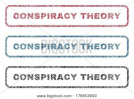 Conspiracy Theory text textile seal stamp watermarks. Blue, red, black fabric vectorized texture. Vector caption inside rounded rectangular banner. Rubber emblem with fiber textile structure.