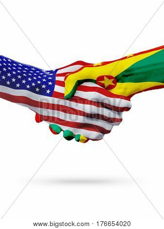 United States and Grenada countries flags handshake concept cooperation partnership friendship business deal or sports competition isolated on white