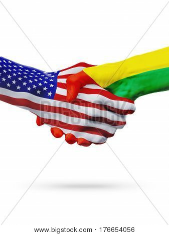United States Guinea-Bissau countries flags handshake concept cooperation partnership friendship business deal or sports competition isolated on white