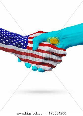 United States and Kazakhstan countries flags handshake concept cooperation partnership friendship business deal or sports competition isolated on white