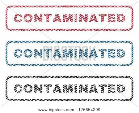 Contaminated text textile seal stamp watermarks. Blue, red, black fabric vectorized texture. Vector tag inside rounded rectangular banner. Rubber emblem with fiber textile structure.