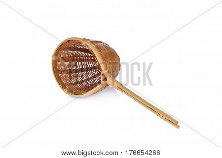 empty bambo colander on a white background