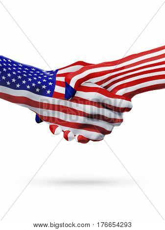 United States and Liberia countries flags handshake concept cooperation partnership friendship business deal or sports competition isolated on white