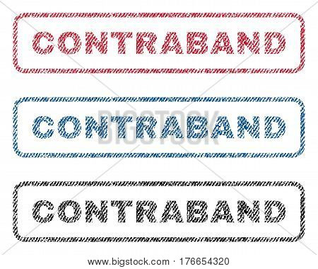 Contraband text textile seal stamp watermarks. Blue, red, black fabric vectorized texture. Vector caption inside rounded rectangular shape. Rubber sticker with fiber textile structure.