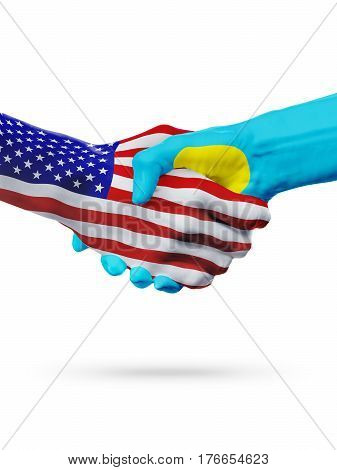 United States and Palau countries flags handshake concept cooperation partnership friendship business deal or sports competition isolated on white