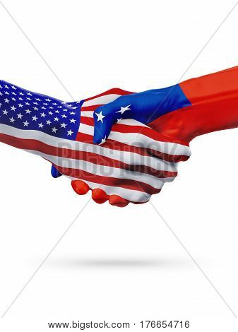 United States and Samoa countries flags handshake concept cooperation partnership friendship business deal or sports competition isolated on white