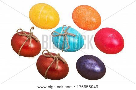 seven colors eggs isolated on white background