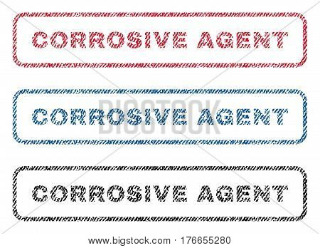 Corrosive Agent text textile seal stamp watermarks. Blue, red, black fabric vectorized texture. Vector caption inside rounded rectangular shape. Rubber sign with fiber textile structure.