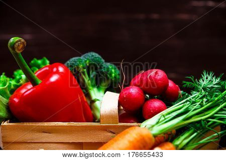 Vegetables. Red pepper, carrot and brocoli. Radish and lettuce salad. Wooden basket on rustic table.