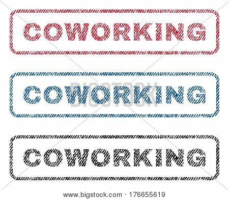 Coworking text textile seal stamp watermarks. Blue, red, black fabric vectorized texture. Vector caption inside rounded rectangular shape. Rubber sign with fiber textile structure.