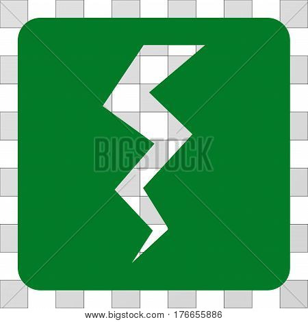 Thunder Crack square icon. Vector pictogram style is a flat symbol hole centered in a rounded square shape, green color.
