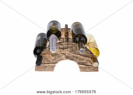 Wooden wine rack isolated on white background