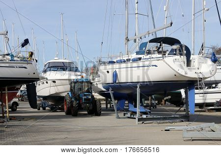 14TH MARCH 2017, CHICHESTER MARINA,ENGLAND: Yachts and pleasure craft on dry land for maintenance and repairs in chichester marina in the uk, 14th march 2017