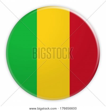 Mali Flag Button News Concept Badge 3d illustration on white background