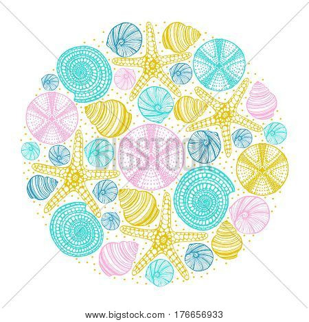 vector hand drawn colored isolated maritime print