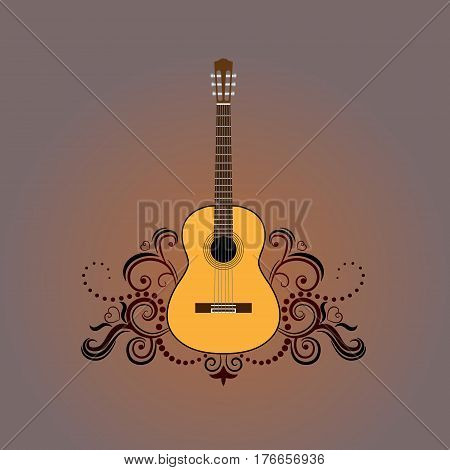 Hand drawing illustration - Acoustic guitar with decorative ornament