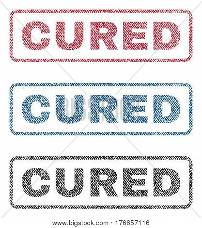 Cured text textile seal stamp watermarks. Blue, red, black fabric vectorized texture. Vector caption inside rounded rectangular shape. Rubber sign with fiber textile structure.