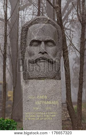 Monument to the national hero priest Sava Karamfilov situated in the bulgarian city Burgas