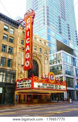 CHICAGO USA - May 2016: Chicago Theatre. Theatre was founded in 1921 and is a registered Chicago Landmark.
