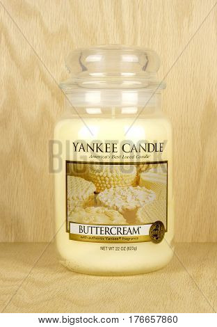 RIVER FALLS,WISCONSIN-MARCH 07,2017: A jar candle in Buttercream fragrance from the Yankee Candle company