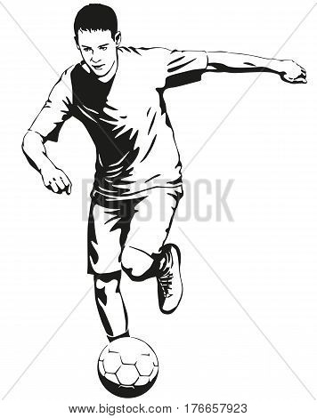Soccer football player sportsman in motion with ball illustration